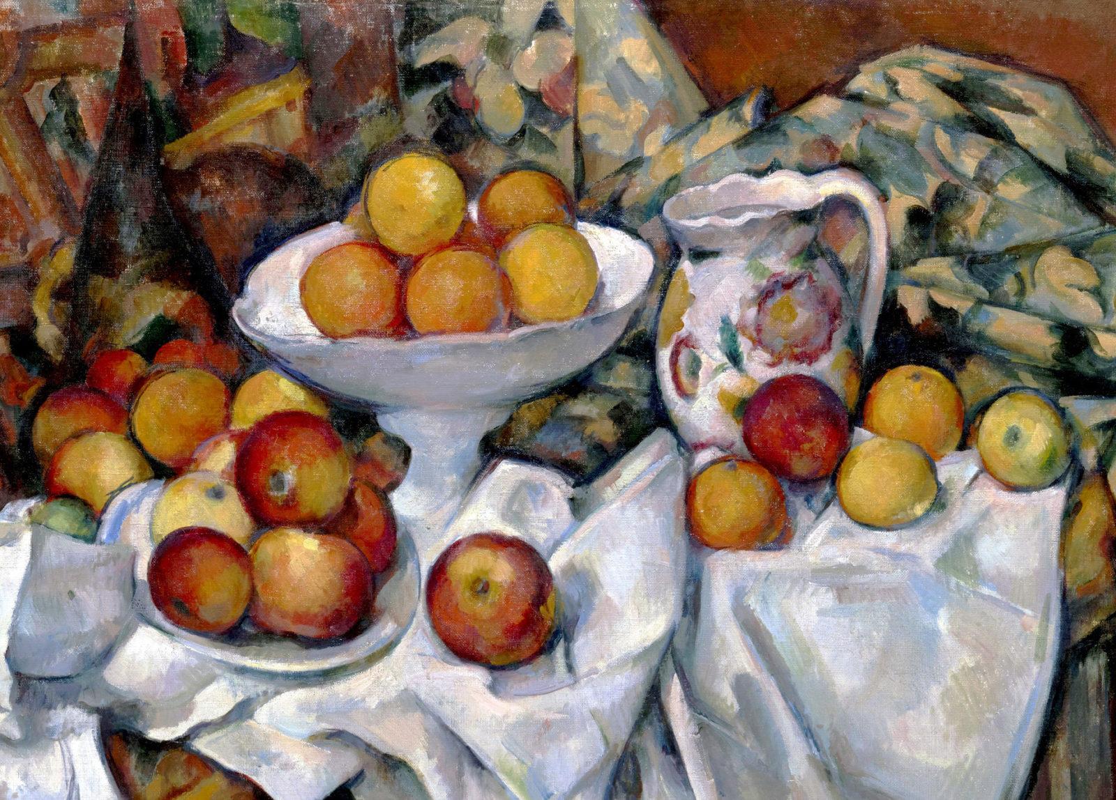 存在の本質にどこまでも迫る!  セザンヌ「リンゴとオレンジのある静物」(1895-1900)